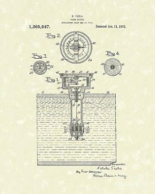 Flow Drawing - Tesla Meter 1921 Patent Art by Prior Art Design
