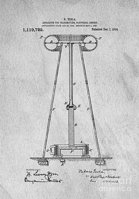 Creativity Drawing - Tesla Patent For Transmitting Electrical Energy 1914 by Edward Fielding