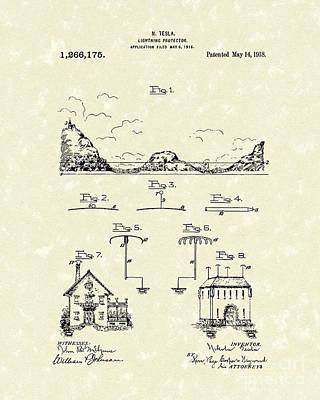 Rod Drawing - Tesla Protector 1918 Patent Art by Prior Art Design