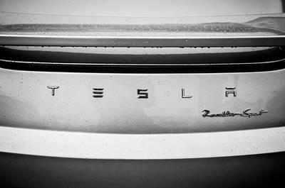 Tesla Photograph - Tesla Roadster Sport Rear Emblem - 002bw by Jill Reger