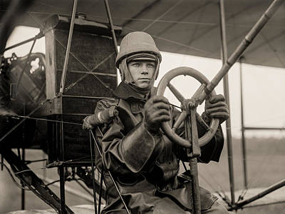Aviator Print featuring the photograph Test Of A Curtiss Plane Circa 1912 by Aged Pixel