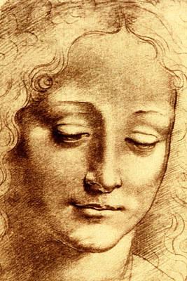 Baptism Painting - Testa Di Giovinetta by Leonardo Da Vinci