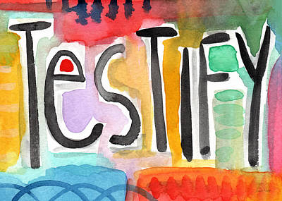 Christian Religious Gifts Painting - Testify Greeting Card- Colorful Painting by Linda Woods
