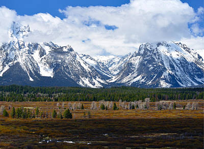 Triptych Photograph - Teton Panorama I Right Panel by Greg Norrell