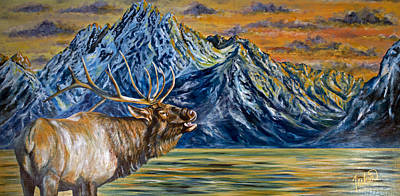 National Park Painting - Teton Song by Teshia Art