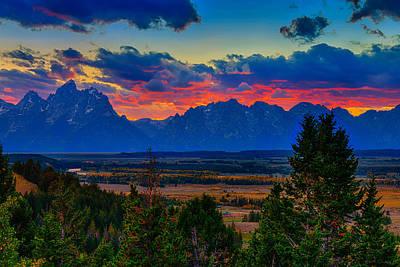 Teton Sunset Print by Greg Norrell