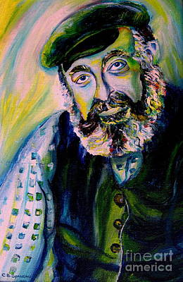 Barmitvah Lessons Painting - Tevye Fiddler On The Roof by Carole Spandau