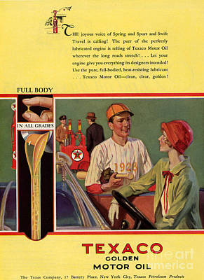 Texaco 1926 1920s Usa Cc  Baseball  Oil Print by The Advertising Archives