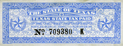 Budweiser Photograph - Texas Beer Tax Stamp by Jon Neidert