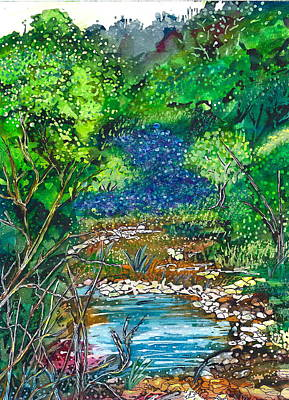 Texas Bluebonnets And Sparkling Stream Print by M E Wood