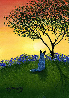 Blue Healer Painting - Texas Bluebonnets by Todd Young