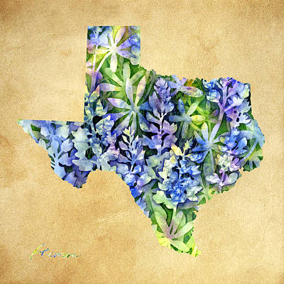 Texas Blues Texas Map Print by Hailey E Herrera
