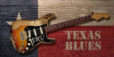 Fender Strat Digital Art - Texas Blues by WB Johnston