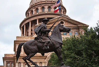 Bronze Horse Photograph - Texas Capitol With Horse And Rider Statue by Linda Phelps