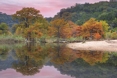 Texas Fall Colors - Pedernales Falls State Park Reflections 1 Print by Rob Greebon