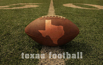 Texas Football Art - Leather State Emblem On Marked Field Print by Design Turnpike