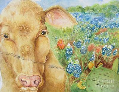 Painting - Texas Hill Country Cow by Lynn Maverick Denzer