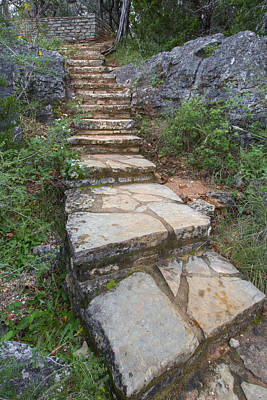 Texas Hill Country Images - Stairs At Pedernales Falls State Par Print by Rob Greebon