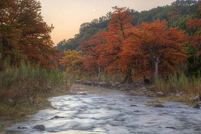 Texas Hill Country Images - The Pedernales River In Autumn Moonr Print by Rob Greebon