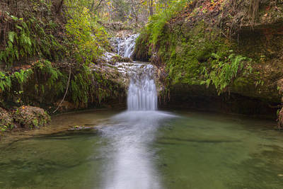 Texas Hill Country Images - Twin Falls In Autumn At Pedernales F Print by Rob Greebon