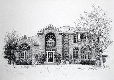 Texas A Drawing - Texas Home 2 by Hanne Lore Koehler