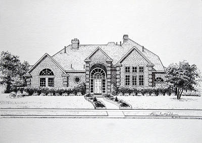 Texas A Drawing - Texas Home 3 by Hanne Lore Koehler