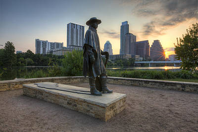 Austin Skyline Photograph - Stevie Ray Vaughan And The Austin Skyline by Rob Greebon