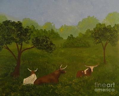 Steer Painting - Texas Longhorns by Tanja Beaver