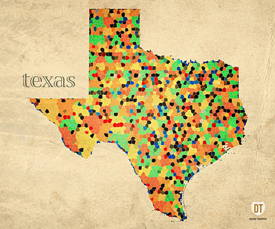 Texas Map Crystalized Counties On Worn Canvas By Design Turnpike Print by Design Turnpike