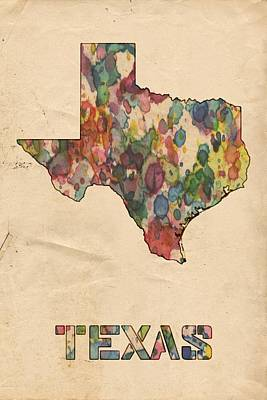 Watercolor Map Painting - Texas Map Vintage Watercolor by Florian Rodarte