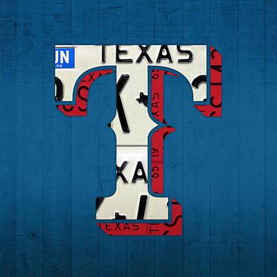 Baseball Art Mixed Media - Texas Rangers Baseball Team Vintage Logo Recycled License Plate Art by Design Turnpike