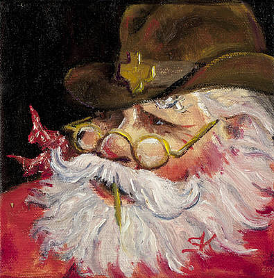 Texas Santa Print by Sheila Kinsey