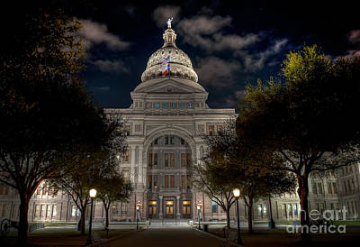 Austin Skyline Photograph - Texas State Capitol At Night by Tod and Cynthia Grubbs