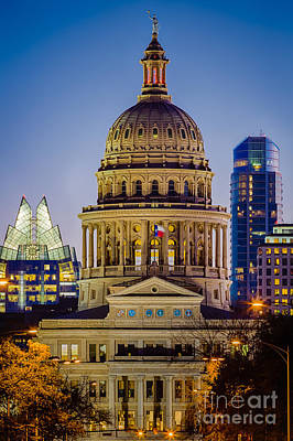 Texas State Capitol By Night Print by Inge Johnsson