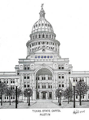 Capitol Building Drawing - Texas State Capitol by Frederic Kohli
