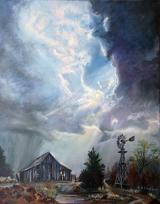 Thunder Painting - Texas Thunderstorm by Karen Kennedy Chatham
