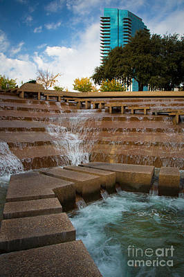 Downtown Stairs Photograph - Texas Water Gardens by Inge Johnsson