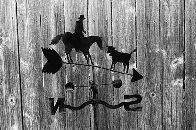 Black Metal Fence Photograph - Texas Weather Vain In Bw by Linda Phelps