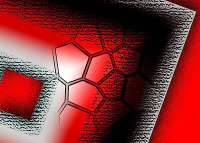 Texture In White Black And Red Design Print by Mario Perez