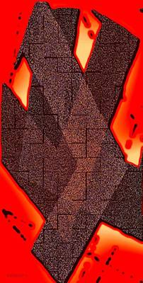Abstract Digital Art - Texture Over Red by Mario Perez