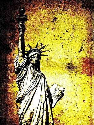 Tourist Attraction Mixed Media - Textured Statue Of Liberty by Dan Sproul