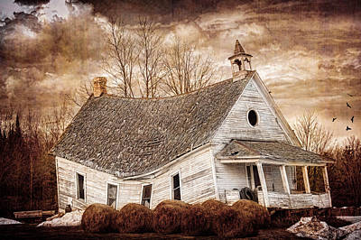 School Houses Photograph - Textured Sway Back School House by Paul Freidlund