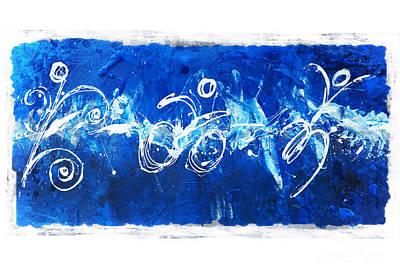 Texturized Triathlon Splash On Blue  Print by Alejandro Maldonado
