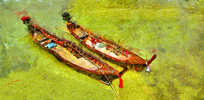 Boat Painting - Thai Boats by George Rossidis