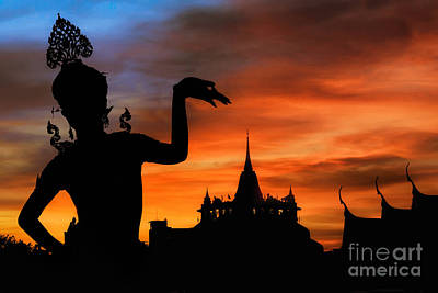 Thai Dance Woman With Background Silhouette Print by Anek Suwannaphoom