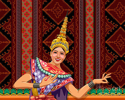 Smiling Mixed Media - Thai Dancer by Bedros Awak