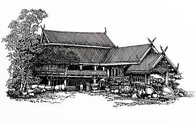 Thai Drawing - Thai House Sketch by Thanes