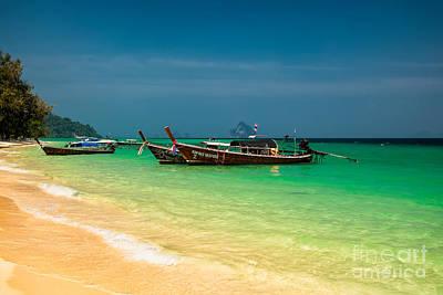 Thai Longboats Print by Adrian Evans
