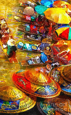 Local Attraction Painting - Thai Market Day by Mo T
