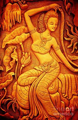 Thai Style Art Carving Wood Thailand. Print by Jeng Suntorn niamwhan